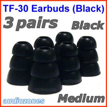 Medium Triple Flange Ear Buds Tips Cushions Sleeves for JAYS a-JAYS t-JAYS 1 2 3 4 Headphones @Black