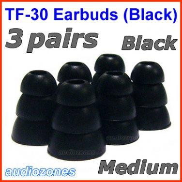 Medium Triple Flange Ear Buds Tips Pads Cushions for Panasonic In-Ear Earphones Headphones @Black
