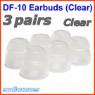 Double Flange Ear Buds Tips Cushions for Ultimate Ears UE 100 200 200vi 300 300vi 350 350vi @Clear