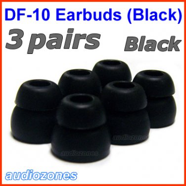 Double Flange Ear Buds Tips Cushions for Ultimate Ears UE 100 200 200vi 300 300vi 350 350vi @Black