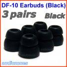 Double Flange Ear Buds Tips Pads Cushions for Audio-Technica In-Ear Earphones Headphones @Black