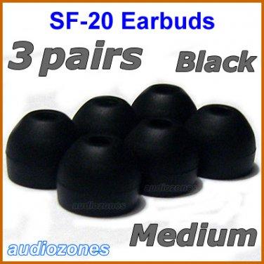 Medium Replacement Ear Buds Tips Pad Cushions for Sony XBA-1 XBA-1iP XBA-2 XBA-2iP Headphones @Black