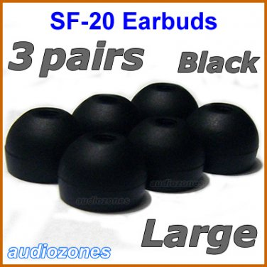 Large Replacement Ear Buds Tips Pads Cushions for Sony XBA-3 XBA-3iP XBA-4 XBA-4iP Headphones @Black