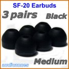 Medium Replacement Ear Buds Tips Pads Cushions for Sony XBA-NC85 XBA-BT75 XBA-S65 Headphones @Black