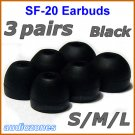 Replacement Ear Buds Tips Pads Cushions for Sony XBA-NC85 XBA-BT75 XBA-S65 In-Ear Headphones @Black