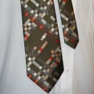 "1960s Mongomery Wards Green with Geometric Pattern 56"" Wide Necktie- FREE SHIPPING"