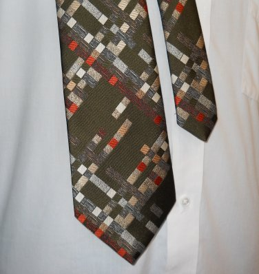"""1960s Mongomery Wards Green with Geometric Pattern 56"""" Wide Necktie- FREE SHIPPING"""