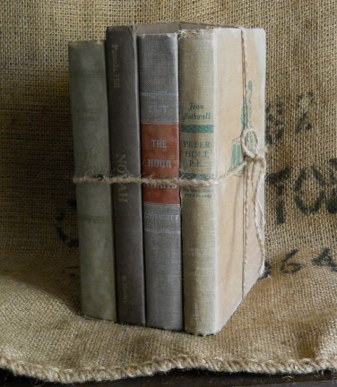 Vintage Book Bundle  | Brown and Green | Home Decor | Prop | Movie Set | Craft