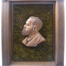 Antique Wood Hand Carving Sculpture President Garfield Framed