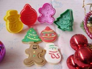 Cookie Cutter Stamp Mold 4pcs Christmas Series Pie Crust Cutter Set