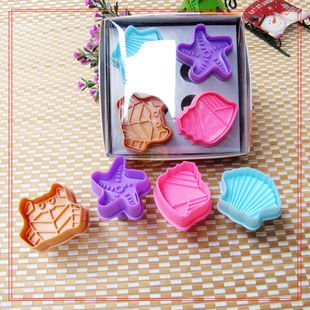 Cookie Cutter Stamp Mold 4pcs SEASHELL Series Pie Crust Cutter Set