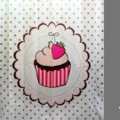 STRAWBERRY CUPCAKE DESIGN Waterproof Shower Curtain Set 180 x 200 cm CAKE Design