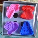 Cookie Cutter Stamp Mold 4pcs DRESS UP PRINCESS Series Pie Crust Cutter Set