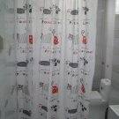 1.8x1.8m CUTE Fancy CAT Design Bathroom Shower Use SHOWER CURTAIN with Plastic HOOK
