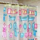 Cute Colorful Adorable BATHROBE BATHTUB Design Shower Curtain Set 180 x 180 cm