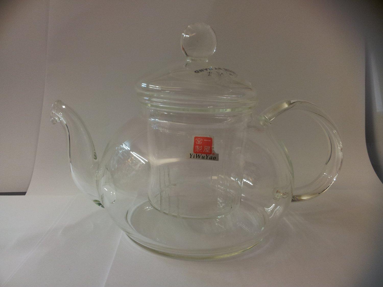 600ml Clear Glass Heat Resistant Infuser Teapot Noce for Flower/Green Tea Pot