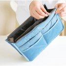 SKY BLUE Large Liner Organizer Bag Dual Zipper Purse Nice to Insert Inside BAGS
