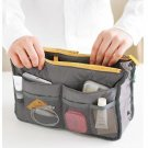 GREY COLOR Large Liner Organizer Bag Dual Zipper Purse Nice to Insert Inside BAGS