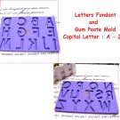 Letters Fondant and Gum Paste Mold Capital A-Z Set Alphabet Cake Pass your Note