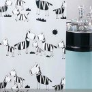Cute Cartoon ZEBRA Design 180 cm x 180 cm PEVA Plastic Bathroom Use Shower Curtain Set