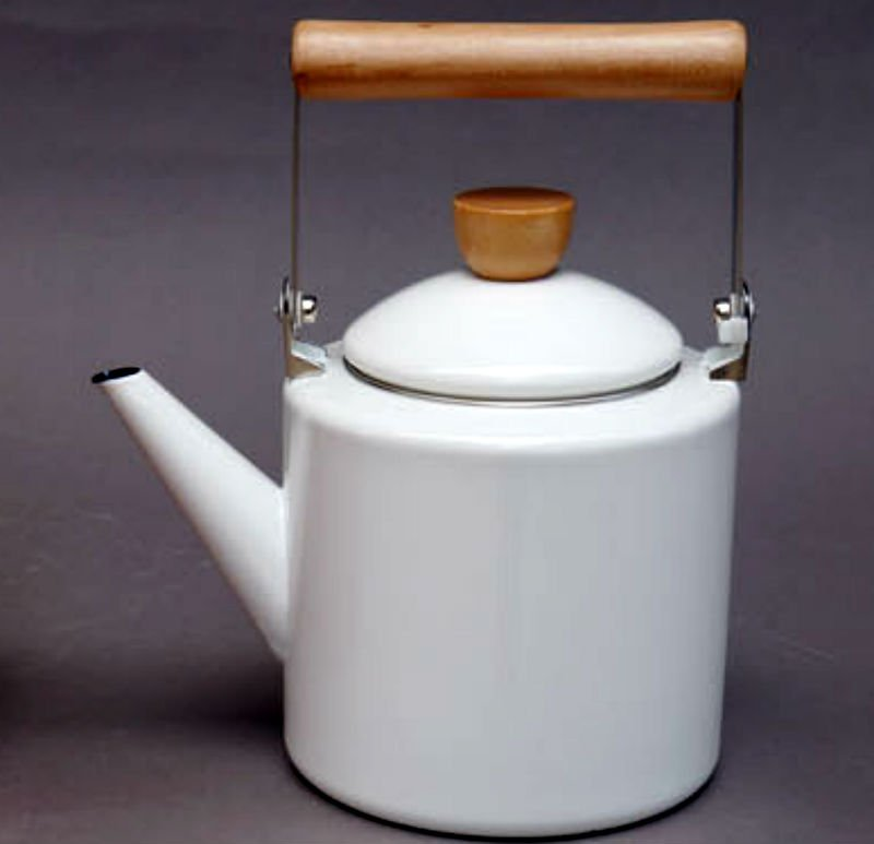 WHITE Color 2 Liter Enamel Steel Multiple Daily Use British Syle Teapot Kettle