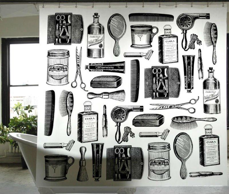 BARBER SHOP Adorable Design 180 x 200 cm PVEA Bathroom Use Shower Curtain Set