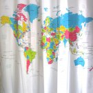 WORLD MAP Colorful Design 180 x 180 cm Polyester Bathroom Use SHOWER CURTAIN Set