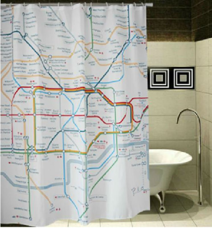LONDON Subway Map Underground Cool Design 178x178cm Polyester Shower Curtain