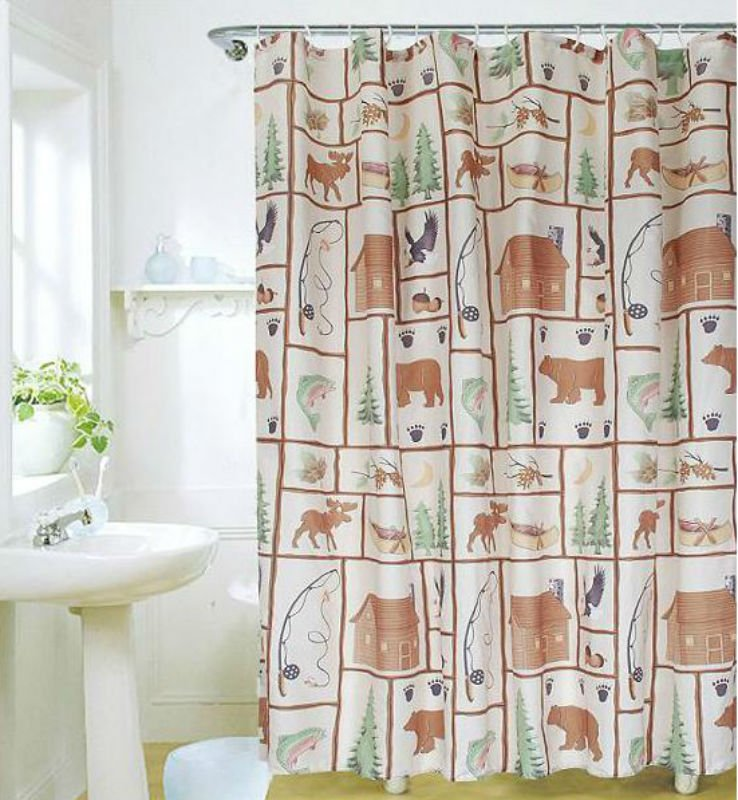 COUNTRY SIDE & ANIMAL 180 x 180 cm Bathroom Use Polyester SHOWER CURTAIN SET