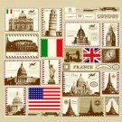 Colorful Different STAMP Cool Design 176 x 178 cm Bathroom Use SHOWER CURTAIN