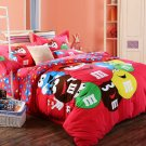 M & M Cartoon QUEEN SIZE Bed RED Color BED SHEET 4 PCS COTTON Bedding SET
