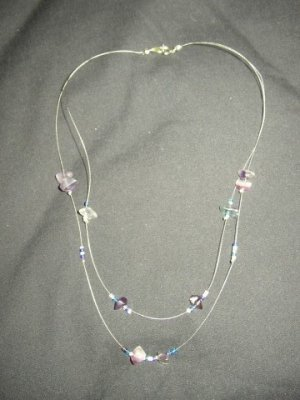 Double Strand Purple Chip Necklace