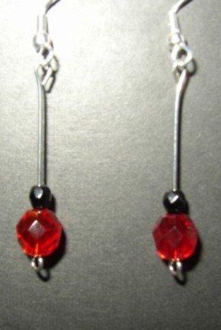 Red Black Crystal Earrings