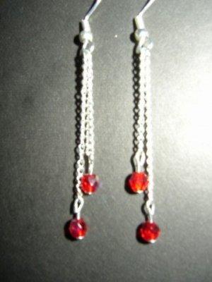 Two Red Dangling Earring