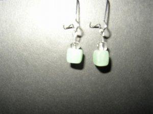 Short Green Cube Earrings