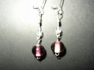 Two Tone Purple White Earring