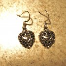 Earrings Tibetan Silver Filigree Heart Pierced NEW #477