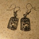 Earrings Tibetan Silver Bird Cage Charm Pierced Dangle NEW #598