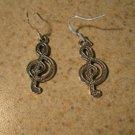 Earrings Tibetan Silver Music Note Charm Pierced Dangle NEW #700