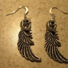 Earrings Tibetan Silver Angel Wing Charm Pierced Dangle NEW #611
