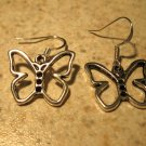 TIBETAN SILVER PIERCED EARRINGS BUTTERFLY CHARM #506