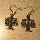 Earrings Pierced Tibetan Silver Justice Scale Charm NEW #595