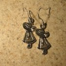 Earrings Pierced Tibetan Silver Bonnet Girl Charm NEW #714