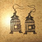 Earrings Pierced Tibetan Silver Bird Cage Charm NEW #472