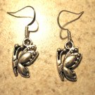 Earrings Pierced Tibetan Silver Butterfly Charm NEW #487