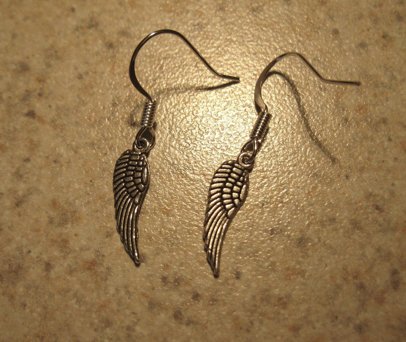 Earrings Pierced Tibetan Silver Angel Wing Charm NEW #567
