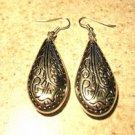 Earrings Pierced Tibetan Silver Etched Teardrop Charm NEW #457