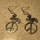 Earrings Pierced Tibetan Silver Peace Dove Charm NEW #731