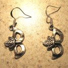 Earrings Tibetan Silver Mardi Gras Mask Charm Pierced Dangle NEW #483