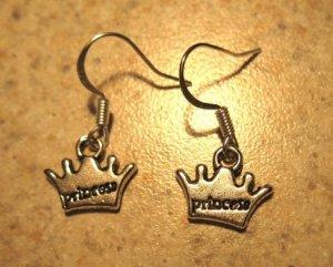 Earrings Pierced Tibetan Silver Princess Crown Charm NEW #566